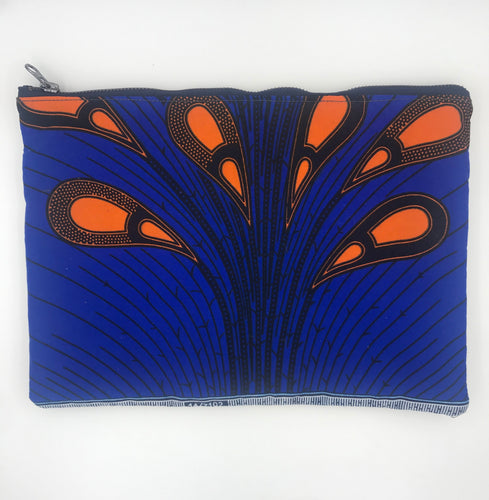 African Ankara Blue Peacock Feather & Leather Clutch