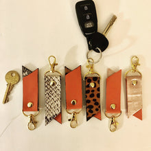 Load image into Gallery viewer, Printed Two-Tone Leather Key Rings