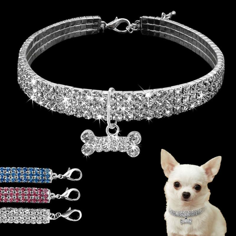 Beautiful Alloy Bling Rhinestone Dog Necklace