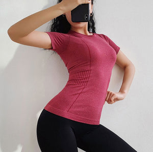 Women Dry Quick Short Sleeve Slim Sport T Shirt Gym Jerseys Fitness Shirt Trainer Running T-shirts Breathable Exercises Yoga