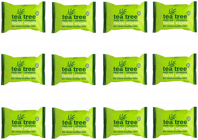 Tea Tree Daily Use Cleansing Facial Make Up Wipes (Pack of 12)