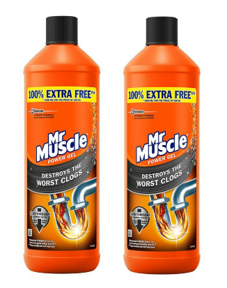 Mr. Muscle Kitchen and Bathroom Max Gel Unblocker 1 Liter Pack of 2