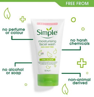 Simple Kind to Skin Moisturising Facial Wash 150ml Pack of 2