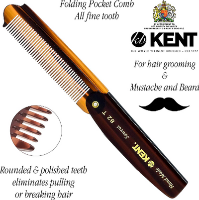 Kent's Handmade Folding Comb Fine Hair 82T 90MM