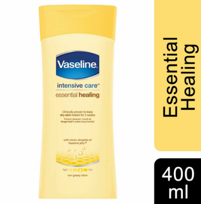 Vaseline Intensive Care Essential Healing Dry Skin Body Lotion 400ml Pack of 4