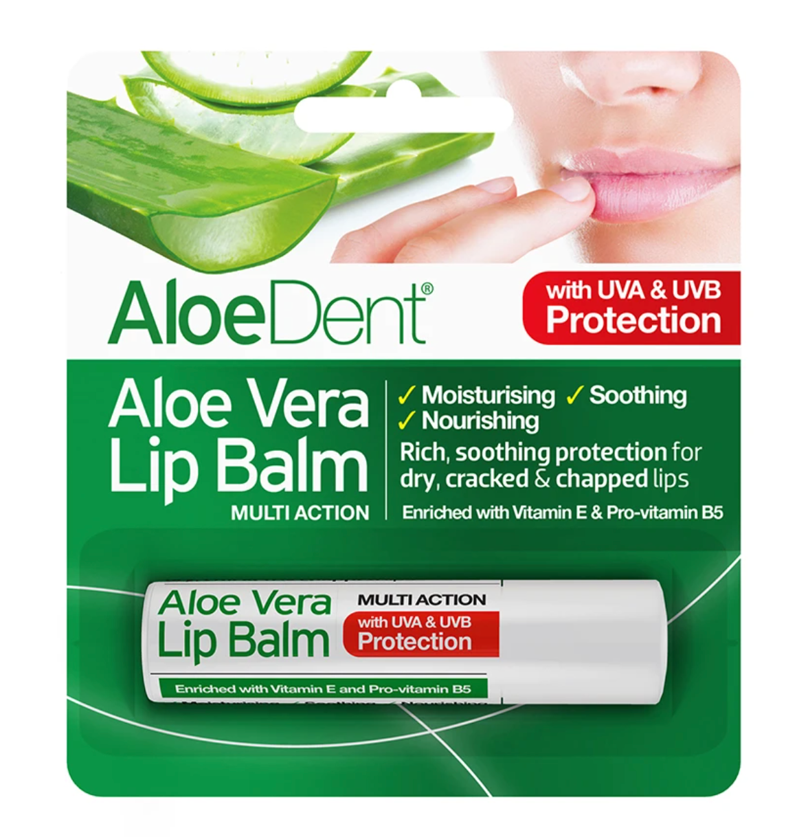 AloeDent® Aloe Vera Lip Balm 4g (Pack of 3)