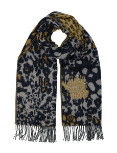 FRAAS- Animal Collage Scarf- Navy