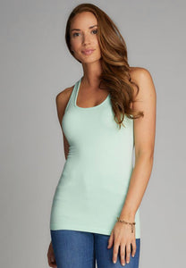 Bamboo Cotton Rib Racer Back Tank- Mint