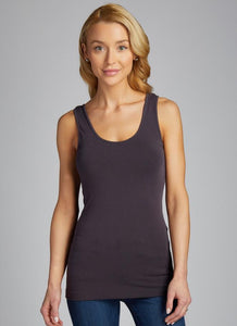 Bamboo Cotton Rib Racer Back Tank- Charcoal