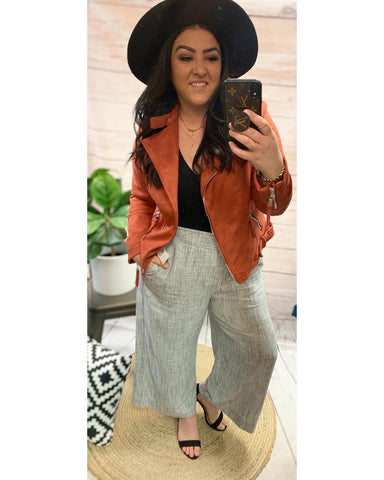 The Freya Faux Suede Bomber- Rust