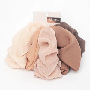 Crepe Scrunchies 5pc - Terra Cotta