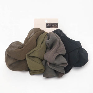 Crepe Scrunchies 5pc - Moss