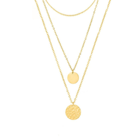 3 Piece Layering Coin Necklace Set- Gold