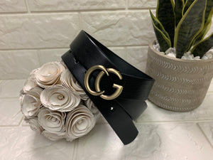 "Landes Black Leather Belt, 1"", Gucci Inspired"