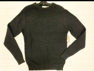 Black Recycled Shaker Knit Crew Sweater