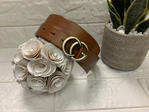 "Landes Brown Leather Belt, 1"", Gucci Inspired"