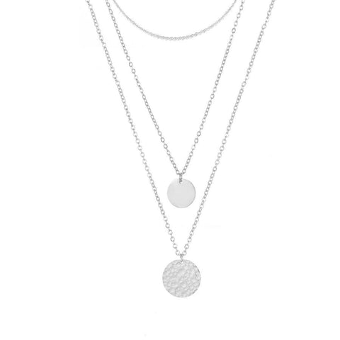 3 Piece Layering Coin Necklace Set- Silver