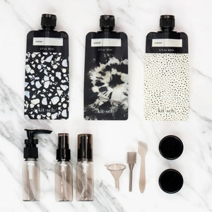 Refillable Ultimate Travel 11pc Set - Black & Ivory