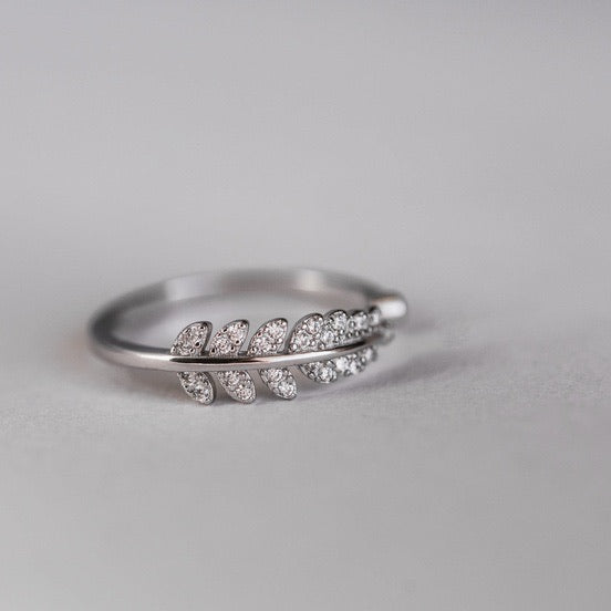 SILVER LEAF WRAP RING