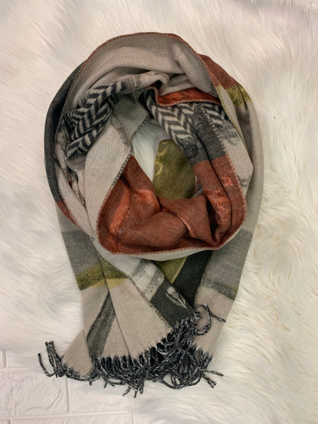 Chain Abstract Oversized Scarf - Cashmink, Olive  Mix