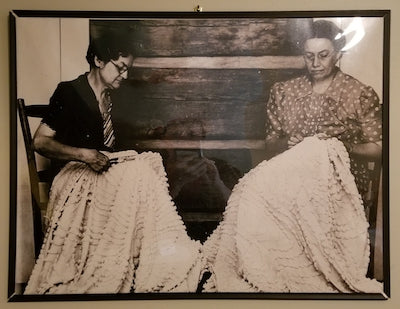 Women tufting chenille quilts. North Georgia, 1930s.