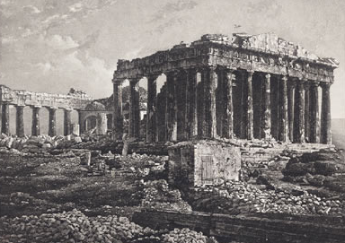 First photo of the Parthenon, taken by Joly de Lotbinière in 1839