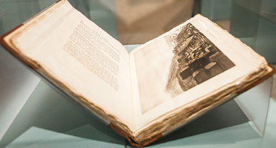 Antique book on display in the Noble Marbles exhibit