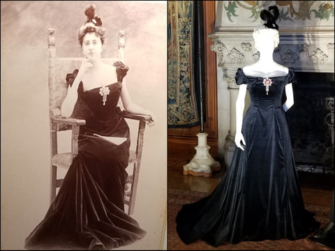 Edith Vanderbilt black velvet dress recreated by Cosprop.