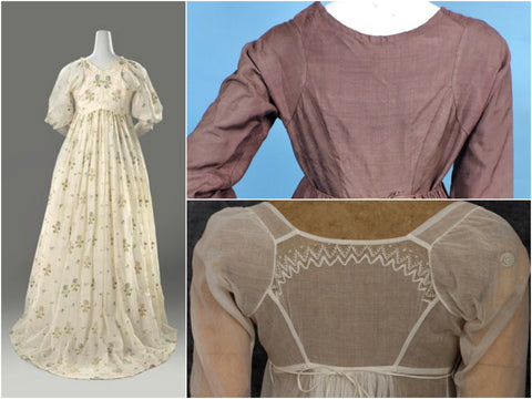 Examples of original Regency era dress backs.