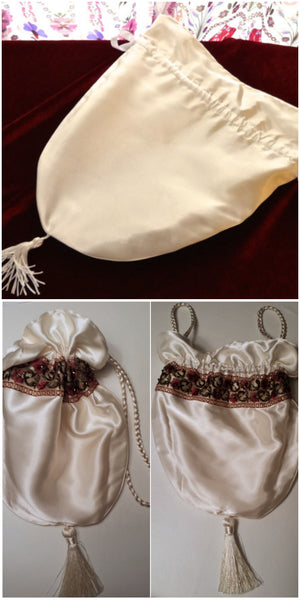 Cream reticule before and after