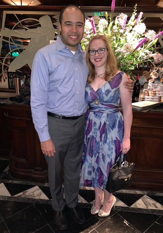Charity in her BDV dress with hubby.