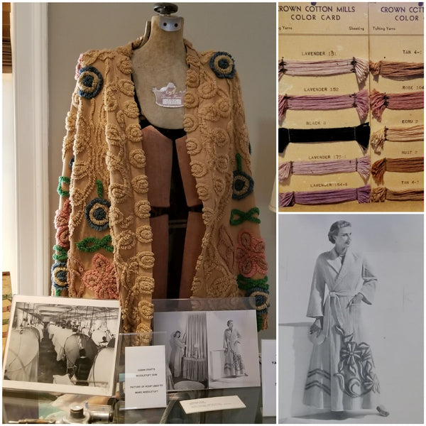Chenille robe, yarn, and image from Dalton museums.