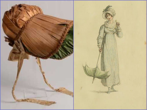Original and fashion plate Regency bonnet examples
