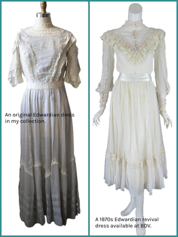 comparison of real vs. revival Edwardian dresses
