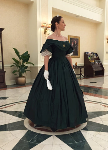 Green Taffeta Mid-Victorian Ball Gown