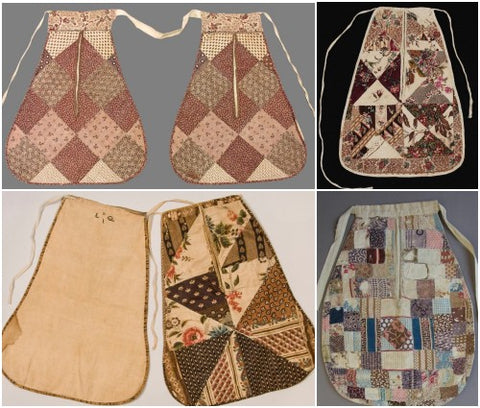 Antique patchwork pockets in the collections of various museums