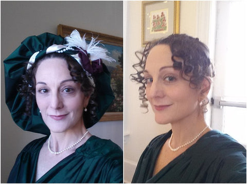 With and without my crazy hat (Regency Tam)