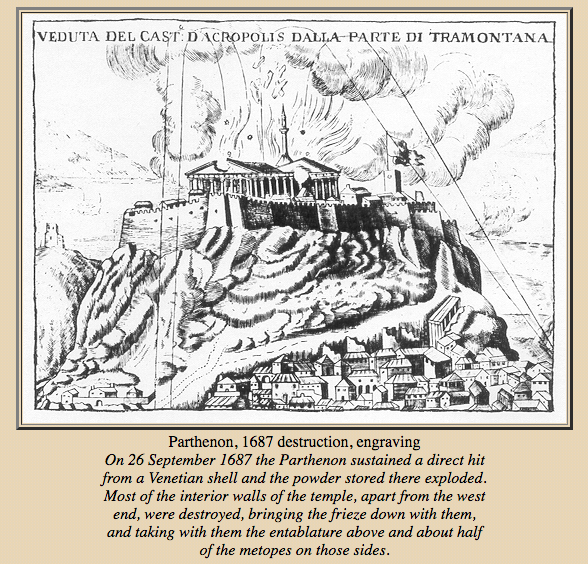 Destruction of the Parthenon by shelling in 1687