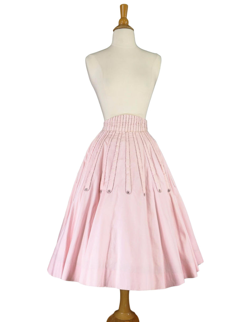 50s Pink Full-Circle Skirt - with crinoline, front