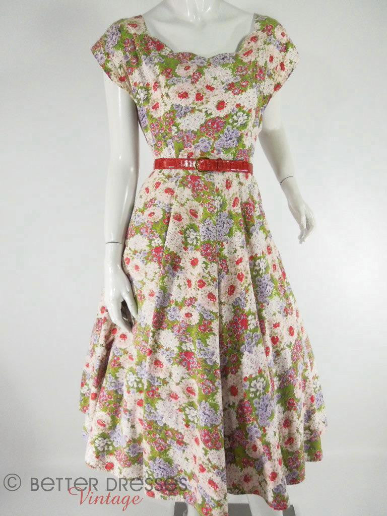 50s Circle Skirt Floral Day Day at Better Dresses Vintage. with red belt and crinoline
