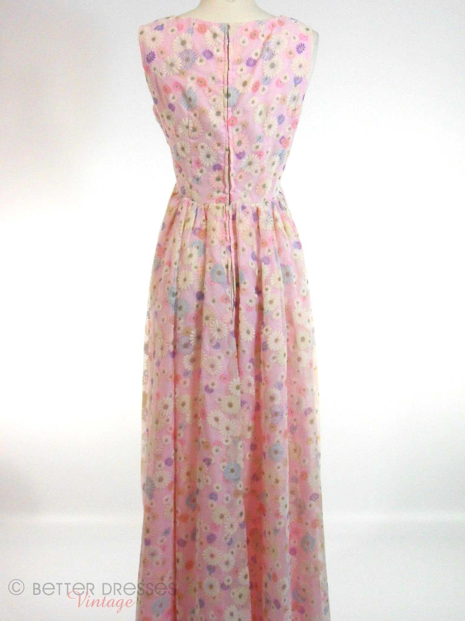 Vintage 60s Maxi Party Dress Flocked Floral Organza – Better Dresses ...