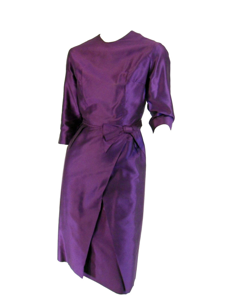 50s/60s Purple Silk Wiggle Dress by Mimi Fendler