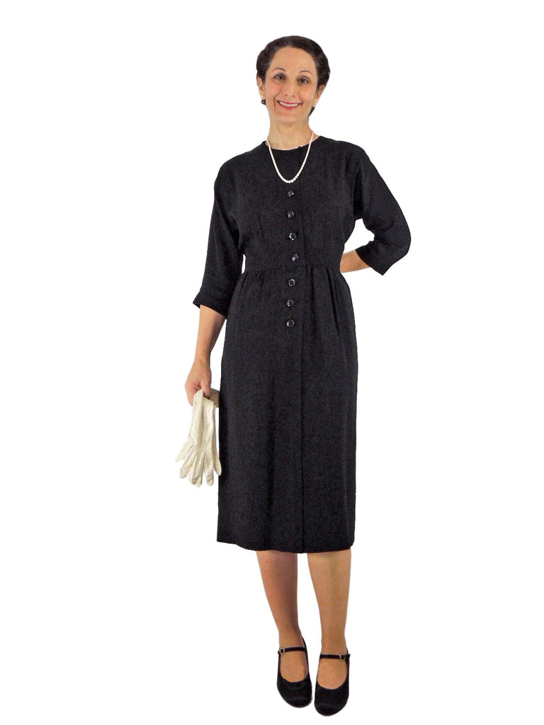 40/50s Black Rayon Dress - front