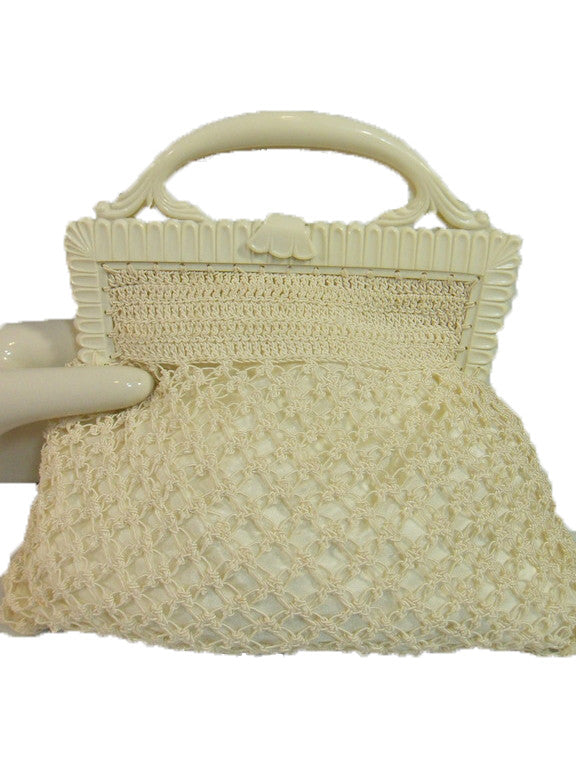 40s/50s White Crochet Handbag by Tilco