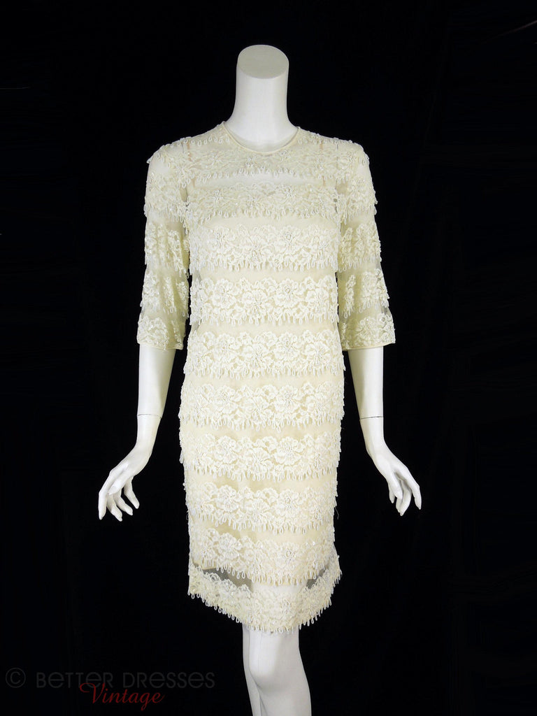 60s Beaded Sheath Dress - front view