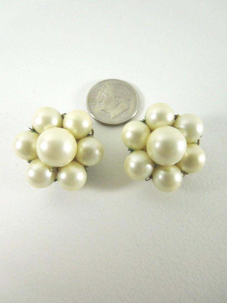 50s/60s Marvella Faux Pearl Clip-On Earrings