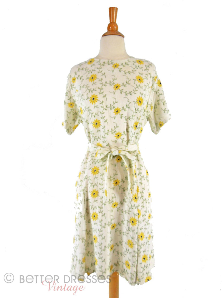 60s Daisy Scooter Belted Shift Dress - front