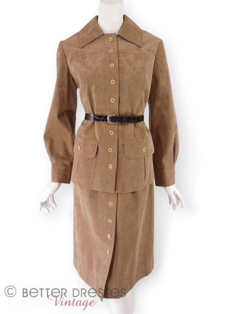 70s Mollie Parnis Ultrasuede Suit - with our belt