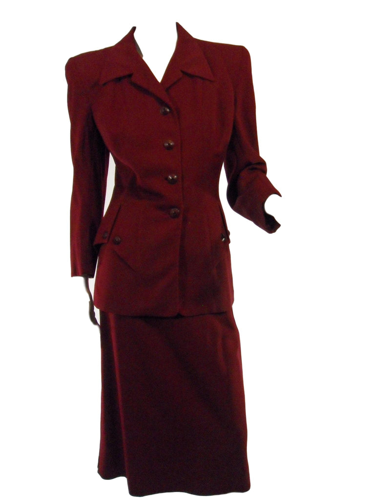 40s Burgundy Wool Suit - med