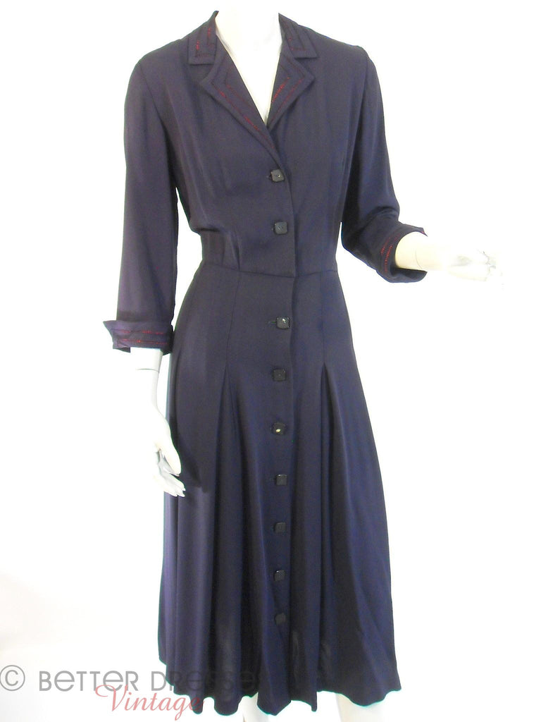 40s Navy Rayon Day Dress - full view